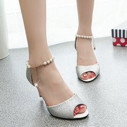 Wholesale Rubber Beads Fishing - Summer New Fashion OL Thin High Heels Fish Mouth Pearl Beads Women Sandals Shoes 35-40