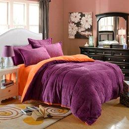 Wholesale Fleece Bedding Sets - Wholesale- winner bedding set velour velvet warm bed set fleece flannel solid color High Quality 4pcs set duvet cover bed linen set