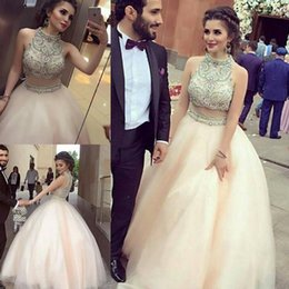 Wholesale Dresse Sexy - Two Pieces 2017 Luxurious Quinceanera Dresses High Neck Crystals Pearls Organza Prom Gowns Sexy Birthday Dresses Party Gowns Sweet 16 Dresse