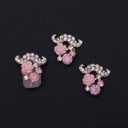 Wholesale Diamond Flower Nail Art - New 10 Nail Art Decorations Finishes Exquisite Flowers Nail Stickers Handmade Diamonds Zircon Jewelry Alloy Nails Art Patch DIY TOOL