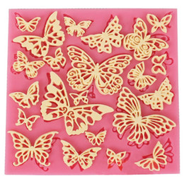 Wholesale decorated butterflies - DIY Flower Butterfly Silicone Lace Mat Cupcake Fondant Molds Gumpaste Chocolate Moulds Sugarcraft Cake Decorating Tools CT684
