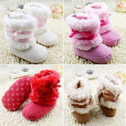 Wholesale Stylish Baby Boy Shoes - Wholesale- Stylish Princess Baby Girls Bowknot Snow Warm Boots Soft Crib Shoes Toddler Fleece Boots
