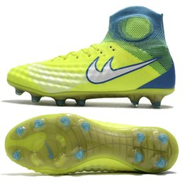 Wholesale Ronaldo Sporting - Kids NJR Soccer Boots Shoes Ronaldo Magista Obra II FG Cleats Shoes Mercurial Superfly V FG AG Breathable Sports Shoes in Stock
