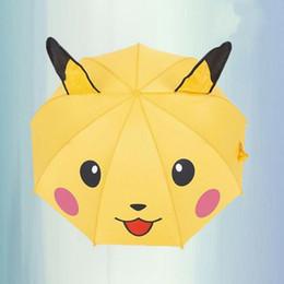 Wholesale Cartoon Kids Umbrellas - Creative Cartoon Umbrella Long Handle Wholesale Students Children Umbrella Pikachu Poke Anime Umbrellas for Kids