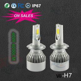 Wholesale H7 Led Low Beam - 2pcs lot H1 H3 H7 H11 9005 HB3 9006 HB4 COB C6 Car LED Headlight H13 9004 9007 High Low Beam 36w 3800LM
