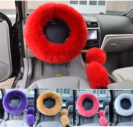 "Wholesale Steer Cover - 6 Colors 14.96"" Winter Warm Wool Handbrake Cover Gear Shift Cover Steering Wheel Cover 1 Set 3 Pcs"