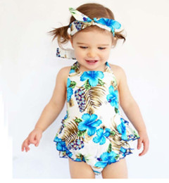 Wholesale Wholesale Baby Ruffle Pants - 0-3T Baby Flower dress +Hair band+PP pants Girl ins Cotton print sleeveless romper with Bow Girls Ruffled Jumpsuit