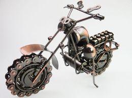 Wholesale Handmade Metal Motorcycles - Large Size HandMade iron art Bronze Color Retro Style Metal Harley Motorcycle Motorbike Autobike Model Toys For Kids Men Birthday Gift