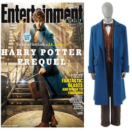 Wholesale Beast Man Costume - Wholesale- Men's Suit Fantastic Beasts and Where to Find Them Newt Scamand Cosplay Costume Party Trench Set Business Blazer Custom made
