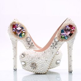 Wholesale Wedding Toe Gems - New white pearl shoes colorful gems The stiletto heel shoes