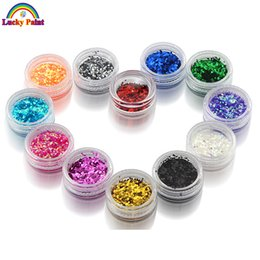 Wholesale Body Art Glitter Tattoo Colors - Wholesale-12pcs lot Body Glitter Powder Shimmer Tattoos Colors Acrylic Polyester Glitter Dust Decoration Nail Art Hexagon Glitter Tattoo