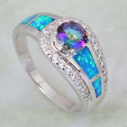 Wholesale Mystic Opal - Rings for women Blue Rainbow Mystic Cubic Zirconia Opal 925 Sterling Silver Overlay jewelry ring size 5 6 6.5 7 7.5 8