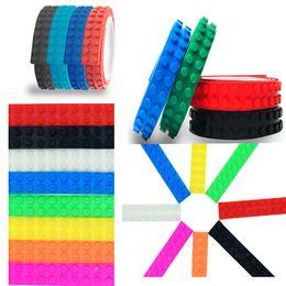 Wholesale Wholesale Sticky Dots - Sticky Bricks Tape 92cmx1.6cm 2 Dots Small Loops Silicone Blocks Tape DIY Building Blocks Baseplate Toy Bondage