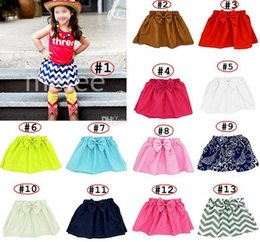 Wholesale Chevron Skirts Wholesale - 3-9M Baby skirt with big Bow infant Girl chevron Gauze Bubble Skirt Tutu Elastic Clothing 15colors choose
