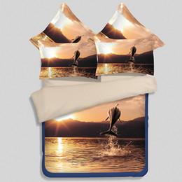 Wholesale Sunset 3d Bedding - Beautiful Nightfall Sunset Bedding Set 3 4Pcs Flat Bed Sheet Duvet Cover Pillowcase Set 3D Scenery Pattern Bed Linen Bedspread