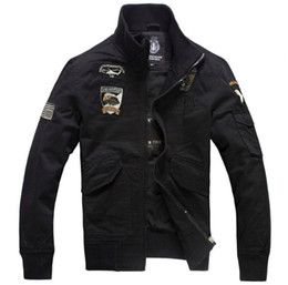 Wholesale Military Style Black Jacket Men - Men's New Air Force One Bomber Jackets Men Plus Size M-4XL Military Style Pilot Jackets Men Flight Jackets And Coats