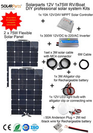 Wholesale Pv Solar Systems - Solarparts 1x150W Professional DIY RV Boat  Kits Solar Home System 2x75W PV flexible solar panel MPPT controller Inverter LED