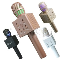 Wholesale Microfone Usb - Karaoke Recording Microphones Q7 Bluetooth Wireless Karaoke Condenser USB Mic Microfone For Mobile Podcast KTV Livestream