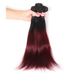 Two Tone 1B 99J Burgundy Ombre Hair Malaysian Indian Peruvian Brazilian Virgin Straight Hair Bundles Human Hair Extensions Coupons