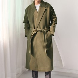 Wholesale Mens Long Casual Wool Overcoats - Wholesale- Autumn Winter Fashion Men Wool Coat Fashion Casual Padded Cotton Thicken Male Long Jacket Leisure Mens Loose Woolen Overcoat