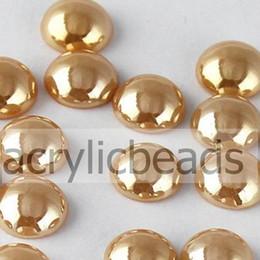 Wholesale Half Pearls Round Beads - Chinese Factory 12mm ab Ceramic Beads Flatback Pearl Color Half Round Cabochon Rhinestones Garment Phone DIY Dero 100pcs Lot