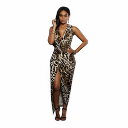 Wholesale Leopard Long Prom Dresses - Womens Sexy Deep V Neck Sleeveless Leopard Print Summer Bodycon Casual Party Prom Long Dress Vintage Evening Maxi Dress Robe 17409