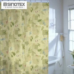 Wholesale Curtains Fabric For Room - Wholesale- Botanical Retreat Fabric Shower Curtain 180*180cm 70.8*70.8'' Polyester Bath Curtain For Bathroom Living Room Leaf Patern