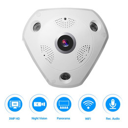 Wholesale Wide Angle Lens Cctv Camera - 360° Panoramic Wireless IP Camera Audio Video WiFi 3 Megapixel HD Fish-eye Lens Wide Angle 10m 30ft Night Vision VR CCTV Security Camera