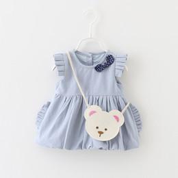 Wholesale Girl Fashion Designer Dress - Fashion Baby Girls Dresses Clothes Cotton Bow With Bear Bag Bear Party Vintage Designer Tutu Dresses Spring Summer Kid Clothing Dresses B028