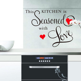 Wholesale Love Wall Stickers For Bedrooms - This Kitchen Is Seasoned With Love Wallstickers Wall Stickers Word Wall Art PVC Kitchen Waterproof Stickers