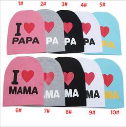 Wholesale Crocheted Skull Baby Beanies - 36 Designs Baby Beanie Hats Skull Caps Children Cotton Crochet Hat Kids Skullcap I Love Papa Mama Dad Mom Infant Cap Free DHL