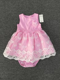 Wholesale Infant Girl Pink Party Dress - Baby Girls Clothes Princess Dresses+Underwear Lace Cotton Pink Tutu Skirt Infant Party Dresses Summer Children Clothing