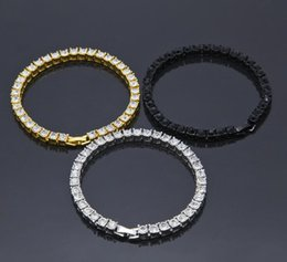 Wholesale Row Diamonds - 3Colors Men Iced Out 1 Row Rhinestones Bracelet Men's Hip Hop Style Clear Simulated Diamond Bangles 2017 July Style