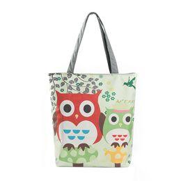 Wholesale Owl Phone - Wholesale-2016 Women's Handbags Owl Printed Canvas Tote Casual Beach Bags Women Ladies Versatile Bolso Shoulder Bag