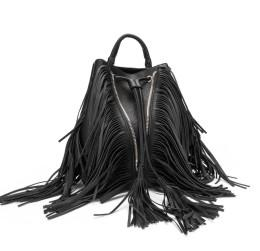 Wholesale Leather Fashion Backpack Vintage - 2017 Fashion Tassel Backpack Style Lady Casual Vintage Bag String Bucket Casual Woman Black Preppy Style PU Leather CT23198