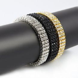 Wholesale High Quality 18k Gold Plated - High Quality Hip Hop Men Jewelry 18k Gold Plated Iced Out Bling Crystal Bracelet Black Mens Diamond Bangle Bracelet