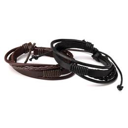 Wholesale Men Braids Designs - Fashion Female Men Leather Charm Bracelets Handmade Design Hip Hop Jewelry Punk Filling Pieces Men Braided Leather Bracelets for Men