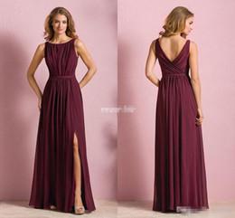 Wholesale Cheap Beach Dresses For Women - Elegant Cheap Wine Red Chiffon Long Beach Bridesmaid Dresses 2017 Wedding Party Dress For Women Maid of Honor Dresses With Split Jewel Neck