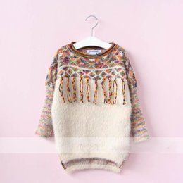 Wholesale Classic Jumpers - Everweekend Girls New Tassels Vintage Sweater Tops Candy Multi Color Classic Stripes Blouse Spring Fall Winter Clothing