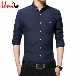 Wholesale Korean Fashion Wear Men - Wholesale- 2017 New Fashion Men Dress Shirt Solid Color Casual Slim Fit Men's shirt Long sleeve Oxford Spring Korean Work Wear 5XL YN618