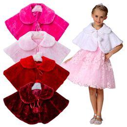 Wholesale Princess Cloak Coat - Girls Winter Coat Princess Bowknot Girls Plush Faux Fur Cape Cloak Wedding Shawl and Cape for Girls Tippet Kids Jacket