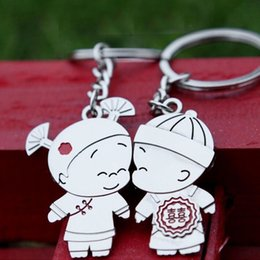 Wholesale Wholesale Bride Groom Keychain - 2pcs=1pair Creative Bride And Groom Couple Keychain Lover Romantic Key Chain Keyring Alloy Bottle Opener Wedding Valentine's Day Gift ZA1567