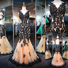 Wholesale Attractive Pictures - Attractive Tulle Jewel Neckline Mermaid Evening Dresses With Beaded Lace Appliques Open Back Prom Dress vestidos de fiesta gala