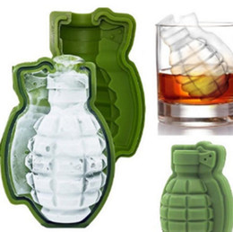 Wholesale Icing Molds - 3D Grenade Shape Ice Cube Mold Creative Silicone Ice Molds Kitchen Bar Tool gift Ice Cream Maker Trays Mold KKA2640
