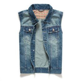 Wholesale Denim Vests For Men - Wholesale- Fashion Mens Motorcycle Jean Vest Black Ripped Destroyed Washed Slim Fit Sleeveless Denim Jacket For Men