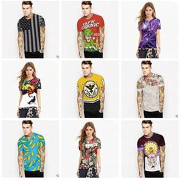 Wholesale Tiger T Shirt For Women - Couple Clothing t shirts for Women 2017 Summer Women Tops 3D Digital Printed Women Clothes 3D T-Shirts Skull Einstein Tiger Printed Tees