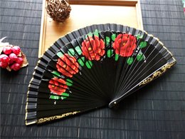 Wholesale Spanish Flower Fabric - 60pcs lot Spanish Fabric Wood Folding Hand Held Dance Fans Flower Party Gift Wedding Prom Dancing Summer Fan Accessories ZA3535