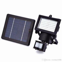 Wholesale Bulb Motion Sensor - Solar Led Floodlights powered outdoor led Garden Lights 60 LEDs PIR Body Motion Sensor Solar Floodl ights Spotlights Solar Lamp bulbs