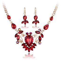 Wholesale gold flower earrings - Red Blue Green Rhinestone Crystal Flower Necklace Earrings Jewelry Sets Gold Chain Women Bride Wedding Jewelry Gift 162053