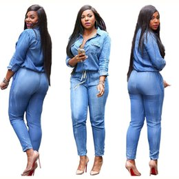Wholesale Blue Women Rompers - New Hot Good Selling Lady Women Fashion Blue Denim Jeans Slim Casual Rompers Trousers Clothes 2862